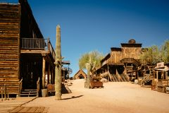 Old Western Wooden Buildings in Goldfield Gold Mine Ghost Town in Youngsberg, Arizona, USA stock images