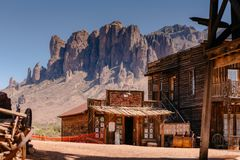 Old Western Wooden Buildings in Goldfield Gold Mine Ghost Town in Youngsberg, Arizona, USA royalty free stock photo