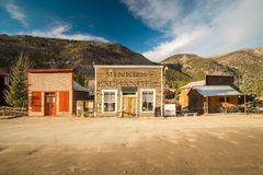 Old Western Wooden Buildings in St. Elmo Gold Mine Ghost Town in Colorado. USA hidden in mountains royalty free stock photos