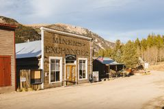 Old Western Wooden Buildings in St. Elmo Gold Mine Ghost Town in Colorado. USA hidden in mountains royalty free stock photography