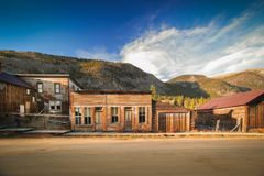 Old Western Wooden store in St. Elmo Gold Mine Ghost Town in Colorado, USA. Hidden in mountains stock image