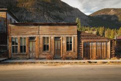 Old Western Wooden store in St. Elmo Gold Mine Ghost Town in Colorado, USA. Hidden in mountains royalty free stock photos