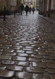 Old wet cobblestone in the rain Stock Photos