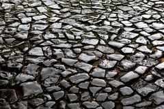 Old wet shiny pavement Royalty Free Stock Images