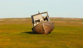 Old whaleboat found last marina in tundra Stock Photo