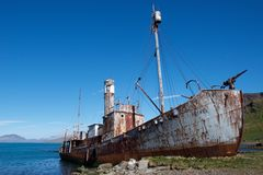 Old whaling ship left at Grytviken in South Georgia Stock Images