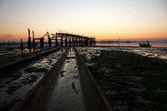 Old wharf from the shipyard. View of the old wharf from the shipping shipyard Royalty Free Stock Photography