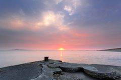 Old wharf sunset Royalty Free Stock Photography