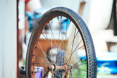 The old wheel of bicycle Stock Photo