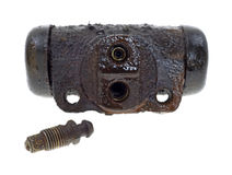 Old wheel cylinder with brake bleed screw Royalty Free Stock Photo