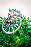 Old wheel and grape on moutains sky background Stock Images