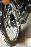 Old wheel motorbikes. Closed up old Old wheel motorbikes stock photos