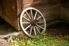 Old wheel. At the traditional Sweden house Stock Images