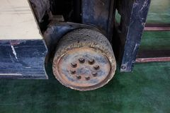 The old wheel of small forklift, Must be fixed Stock Photos