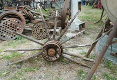 Old wheel spokes, metal parts, antique pieces Royalty Free Stock Image