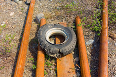Old wheel and steel Stock Image