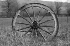 Old wheel of waggon 2. B/w shot of old wheel Royalty Free Stock Image