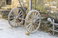 Old wheel, wood and stone houses in the province of Zamora in Sp Royalty Free Stock Image