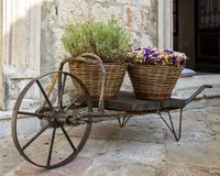 Old wheelbarrow with baskets of flowers Royalty Free Stock Photography