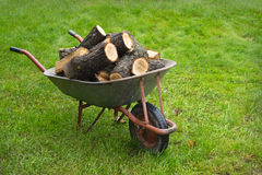 An old wheelbarrow full of firewood Royalty Free Stock Photo