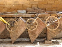 Old wheelbarrows Stock Photo