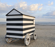 Old wheeled bathing hut Stock Photo