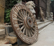 Old wheels. This ancient wheels taken in shandong province, china a historic street, at least a hundred years of history Royalty Free Stock Photos
