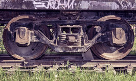 Old wheels on freight wagon Royalty Free Stock Image