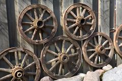 Old wheels of the horse cart Stock Photo