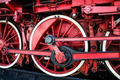 Old wheels of a steam train Stock Images