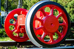 Old wheels of a steam train Stock Photos