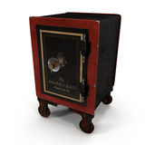 Old Wheled Red Safe on White 3D Illustration. Old Wheled Red Safe  on White Background 3D Illustration Royalty Free Stock Images
