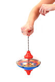 Old whirligig in human hand Royalty Free Stock Image