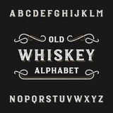 Old whiskey alphabet vector font. Distressed type letters. Vector typeface for labels, headlines, posters etc Royalty Free Stock Photos