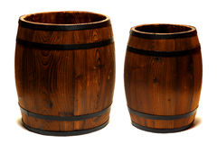 Old Whisky Barrels or Wine Casks Wood Containers  Royalty Free Stock Image
