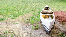 Abandoned old canoe boat on the green grass. A old white Abandoned old canoe boat on the green grass stock photos