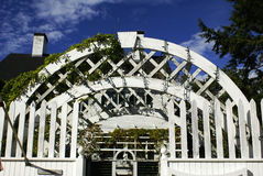 Old White Arbor. An old white arbor made of wood Royalty Free Stock Photography
