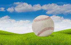 Old white baseball on grass and blue sky background. Close up old white baseball on grass and blue sky background royalty free stock image