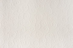 Old white, beige paper sheet texture background. Shells, waves, circles, shapes embossed pattern. Stock Photography