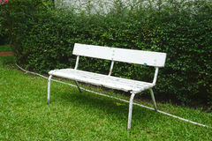 Old white bench on green grass Stock Image