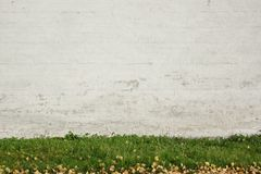 Old White Brick Painted Wall Abd Green Grass Background Royalty Free Stock Images