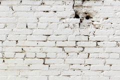 Old white brick wall with holes. Abstract background Royalty Free Stock Photography