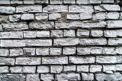 Old White Brick Wall Textured Background. Vintage Brickwall Square Whitewashed Texture. Grunge White Washed Brickwork Surface. Des royalty free stock photo