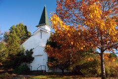 Old White Church in Autumn Royalty Free Stock Images