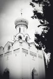 Old white church. Black and white photo. Royalty Free Stock Image