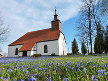 Old  white church , Lithuania. Old evangelical lutheran  church in Katyciai, Lithuania Royalty Free Stock Image