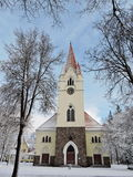 Old white church, Lithuania. Evangelical Lutheran church in Silute town, Lithuania Stock Photo