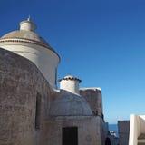 Old white church on stromboli island, Italy stock image