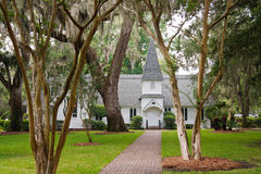 Old White Church Under Spanish Moss Royalty Free Stock Image