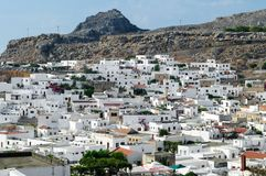 Old white city of Lindos view. royalty free stock photos
